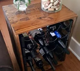 can you put a wine rack in living room what color should i paint my with brown leather furniture ideas thrift upcycle end table hometalk