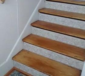Stair Risers Wallpaper Border Hometalk | Hardwood Steps And Risers | Gray Painted | Cherry Wood | Hardwood Floor | Timber | White