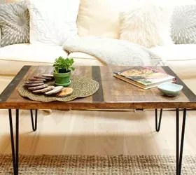diy reclaimed wood coffee table with inlaid metal and hairpin legs