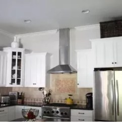Kitchen Fan Sink Styles A Homeowner Hangs Board From Her Ceiling Few Steps How To Make Hood Design