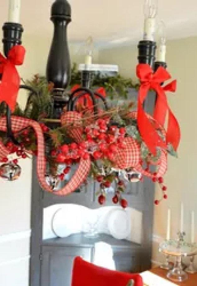 A Christmas Ribbon Holiday Chandelier Crafts Lighting