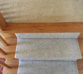 From Carpet To Wood Stairs Redo Cheater Version Hometalk | Carpet Landing Wooden Stairs | Patterned | Builder Grade | Light Wood | Red Oak Wood | Hardwood