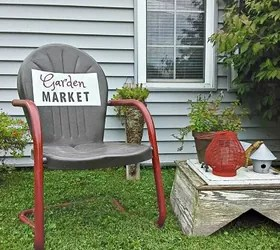 old metal chairs travel shower chair garden sign painted on hometalk