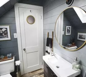 outdoor kitchen stainless steel cabinet doors aid bowls tiny attic bathroom gets a diy update | hometalk