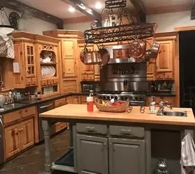 Any ideas on how to update my knotty pine cabinets or pot