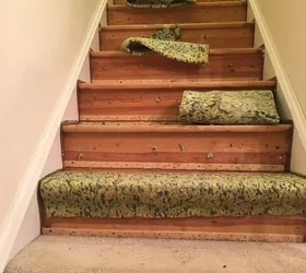 How To Change Stairs From Carpet To Wood Diy Hometalk   Wooden Stairs Carpet Landing   French Cap   Contemporary   Redo   Upstairs   Partially Carpeted