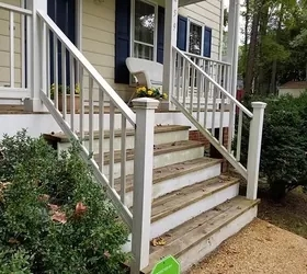 Diy Front Porch Railing Replacement Project Hometalk | Outside Stair Railing Installation | Rail | Simple | Staircase | Back Porch | Sunroom
