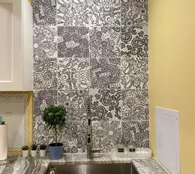 how can i hang shelves over this tile