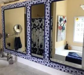bathroom mirror with mosaic tile