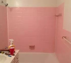 adhesive from 1950 s pink wall tiles