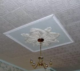 DIY STYROFOAM CEILING TILE OVER WATER STAINED POPCORN