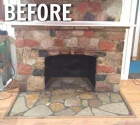 Ugly Stone Fireplace Makeover Hometalk