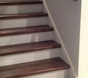 From Carpet To Wood Stairs Redo Cheater Version Hometalk   Wrapping Stair Treads With Carpet   Stairway Remodel   True Bullnose   Non Slip   Wood Stairs   Oak Valley
