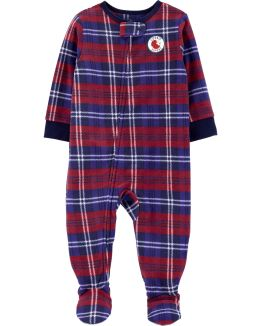 1-Piece Plaid Fleece PJs, , hi-res