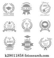 Class of 2015 College High School Graduation Cap Clip Art