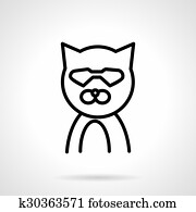Cat in glasses simple line vector icon Clipart k30363571 Fotosearch