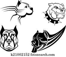 Clipart of , bulldog, canine, cartoon, dog, guard