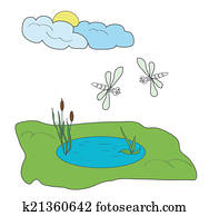 dragonfly cattails