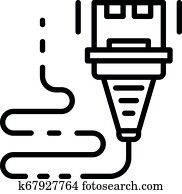 E-cigarette USB cable charge icon, outline style Clipart