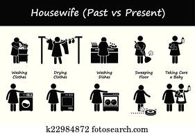 Clip Art of Woman Wife Mother Daily Routine k7719237