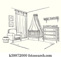 Bed and chair on white background. Vector illustration in