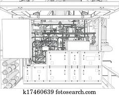 Clipart of Wire-frame industrial equipment oil and gas