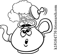 Clip Art of kettle and steam coloring page k18164749