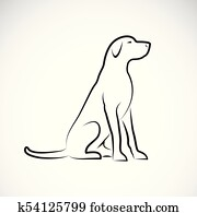 Clipart of Vector graphic outline of a pitbull weimaraner