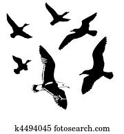Clipart of vector silhouettes of the birds on wire