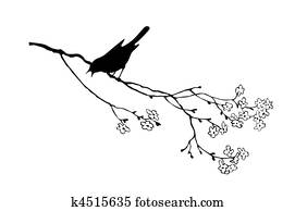 Clipart of vector silhouette of the bird on branch