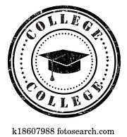 Clipart of College Just Ahead Green Road Sign k12118110