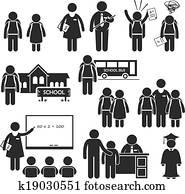 Clipart of Advising school boy with blackboard k3328321