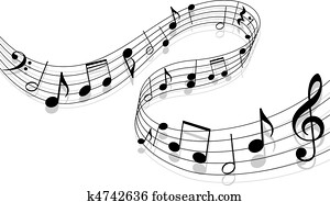 Clipart of Carol Musical Note for Holiday Christmas Music