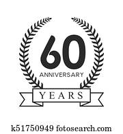Clip Art of 60 years anniversary golden label k11224256
