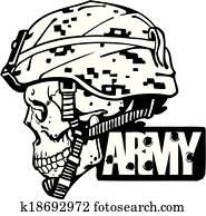 Clip Art of Military Army Patrol Dog War Icon k8323589