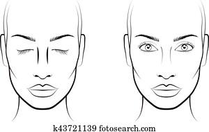 Face chart Makeup Artist Blank Template Clip Art