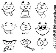 Clipart of Black And White Sick Cartoon Funny Face With