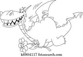 clip art of dragon with flower