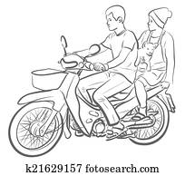 Clipart of illustration, lineart, motorcycle u13453275
