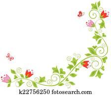 border corner floral tulip Clipart  u13054362