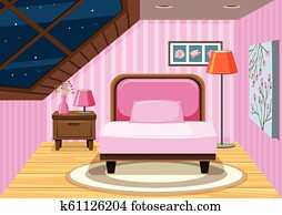 attic bedroom pink clipart fotosearch