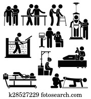 Clipart of Doctor Nurse Hospital Patient Sick k7196560