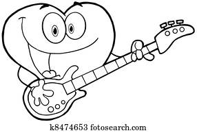 Clipart of Heart Playing A Guitar And Singing k4326034