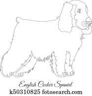 Clip Art of , animal, breeds, canine, cocker spaniel, dog
