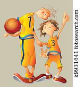 行動, 籃球, 卡通, 卡通畫, 人們, 運動, 美工圖案   u27982817   Fotosearch