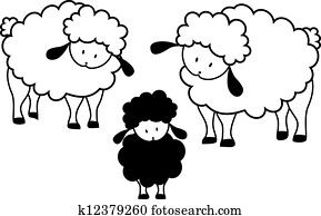 Black silhouette of sheep on a light background Clip Art