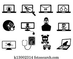 Clip Art of Computer virus breaks security to crash Laptop