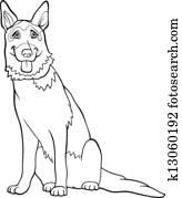 Clipart of vector color sketch dog German shepherd breed