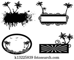 Clip Art of , border fancy, cameo, frame, palm, tree