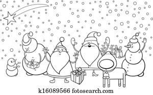 Clipart of cute christmas reindeer cartoon k15963064